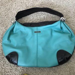 Teal style large leather handbag